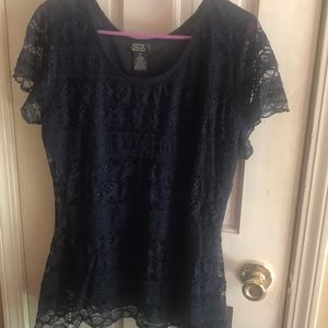 Tops - Navy blue, lace shirt.